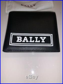 New Authentic Bally Front Big Logo Men Leather Bifold Wallet ID Card Black $395