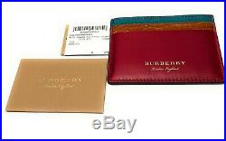New Authentic Burberry Sandon Men's Card Leather Case Red / Brown