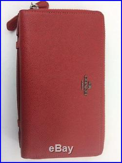 New Authentic Coach F23334 Men's Double Zip Travel Organizer Wallet True Red