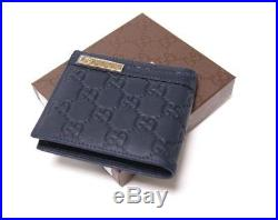 New Authentic Gucci Blue Leather Bifold With Metal Bar Wallet
