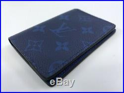 New Authentic Louis Vuitton Pocket Organizer Taigarama Cobalt Card Holder #478H