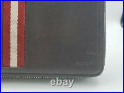 New Bally Mens Tinger Travel Wallet Clutch Brown Leather MSRP $790 Trainspotting