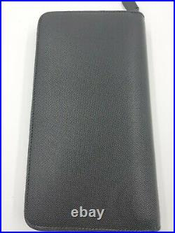 New Bally Myne Mens Long Wallet Black Calf Leather Zippered Made In Italy $710
