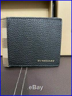 New Burberry Leather And House Check International Bifold Wallet In Black RRP 35