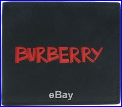 New Burberry Men's Black Leather Graffiti Red Logo Print Bifold Wallet