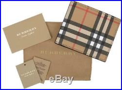 New Burberry Vintage Check Bonded Leather ID Window Bifold Wallet Card Holder