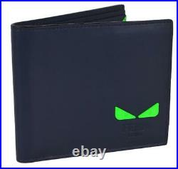 New Fendi Men's SEE YOU Green Fluorescent Bug Eyes Leather Bifold Wallet 7M0266