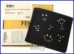 New Fendi Roma Men's Black Leather Animoticon Card Case Bifold Wallet