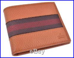 New GUCCI 231845 Men's Saddle Brown Red Web Stripe Leather Bifold Wallet