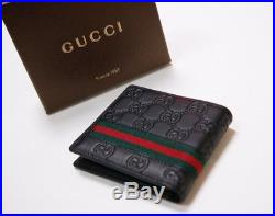 New GUCCI Accessory Collection Guccissima Black WEB Leather Bifold Wallet