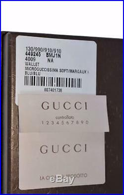 New Gucci 449245 Men's BLUE Leather Micro GG Guccissima Long Wallet WithID Window