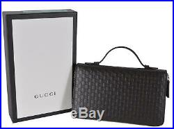 New Gucci 449246 Large Brown Leather GG Guccissima Double Zip Travel Wallet