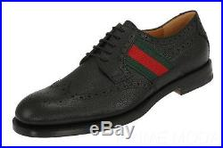 New Gucci Black Grained Leather Web Detail Oxfords Lace-up Casual Shoes 6/us 6.5