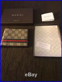 New Gucci GG Leather Mens Wallet Genuine