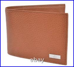 New Gucci Men's 143384 Tan Brown Calf Leather Bifold Logo Coin Pocket Wallet