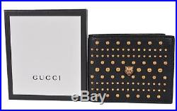 New Gucci Men's 451176 Black Leather Studded Feline Head Bifold Wallet