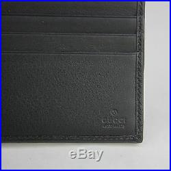 New Gucci Men's Black Leather Bifold Wallet withSilver Studs and Logo 387455 1000