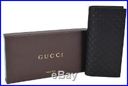 New Gucci Men's Black Leather Micro GG Guccissima Long Chest Pocket Wallet WithID