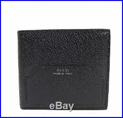 New Gucci Men's Black Trademark Detail Leather Bifold Wallet 322101 1000