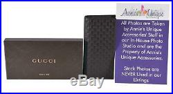 New Gucci Men's Brown Leather Micro GG Guccissima Long Chest Pocket Wallet WithID