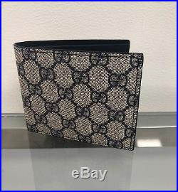 New Gucci Men's Wallet GG Guccissima card holder Gray Blue Leather MADE IN ITALY