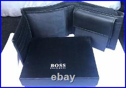 New Mens Hugo Boss Black Wallet Style Arezzo 50250280 Trifold Coin Pocket