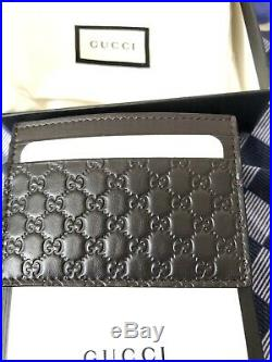 New Official Gucci Wallet Unisex Genuine Cardholder Dark Brown For Men And Women
