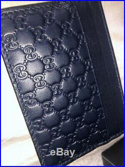 New Official Gucci Wallet Unisex Genuine Cardholder Navy Blue For Men And Women