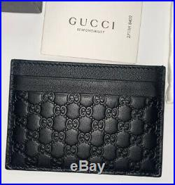 New Official Men And Women Gucci Card Holder Black Leather Mini GG Wallet