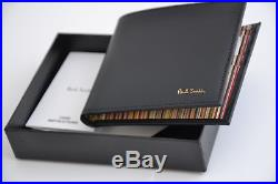 New Paul Smith Multistripe Classic Signature Men's Black Leather Bi-fold Wallet