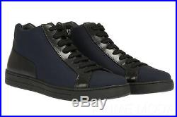 New Prada Blue Techno Canvas Leather Logo High Top Sneakers Boots Shoes 9/us 10