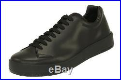New Prada Current Black Matte Leather Lace-up Casual Sneakers Shoes 10/us 11