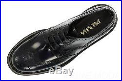 New Prada Men's Blue Smooth Leather Wing Tip Lace-up Casual Shoes 9.5/us 10.5