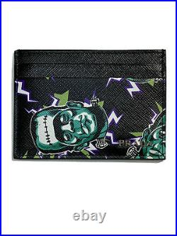 New Prada Mens Saffiano Leather Card Holder Frankenstein Special Collection