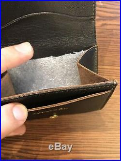 New RRL Double RL Vintage Black Capeskin Leather Coin Wallet Made In Italy
