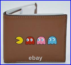 New SOLD OUT! Coach x PacMan Saddle Brown Billfold Leather Wallet Mens Rare