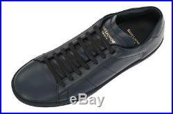 New Ysl Saint Laurent Indaco Blue Leather Logo Lace-up Sneakers Shoes 41/us 8