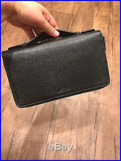 Nwt Coach Men's Double Zip Travel Organizer In Crossgrain Leather Style#f59114