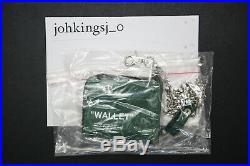 Off White Zip Around Green Leather Wallet with Chain Authentic