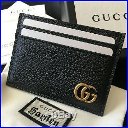 Original GUCCI GG MARMONT Black Leather Cardholder Wallet Purse Case