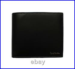 PAUL SMITH MEN LEATHER BILLFOLD'BIKE' COIN & 4 CARD WALLET BLACK ITALY Was £185