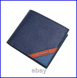PRADA SAFFIANO Navy Calf Leather Wallet Mens Bifold 2MO513 2EGO F0UDP Gift Auth