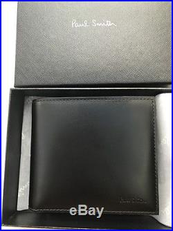 Paul Smith Men Wallet Bfold Coin Mini Made In Italy Leather Black With Box