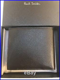 Paul Smith Men's Bifold Coin Saff Wallet With Coin Made In Italy With Box Black