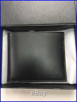 Paul Smith Men's Bifold Wallet Blaster Black Leather Made In Italy