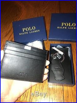 Polo Ralph Lauren3 Pc Black Leather Polo Bear Bifold Wallet, Keychain, Card Set