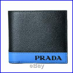 Prada Men's Textured Leather Black Bifold Wallet