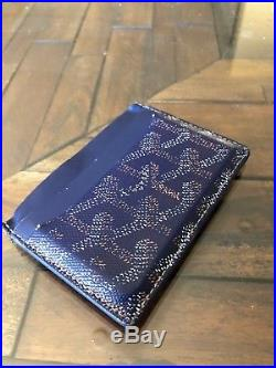 Pre-Owned Navy GOYARD Saint Sulpice Leather Card Holder Wallet Blue Yellow
