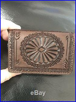Ralph Lauren RRL Hand-Tooled leather Wallet card holder made in Mexico