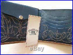 Ralph Lauren RRL Western Stiched Tan & Blue USA Made Leather Bifold Wallet